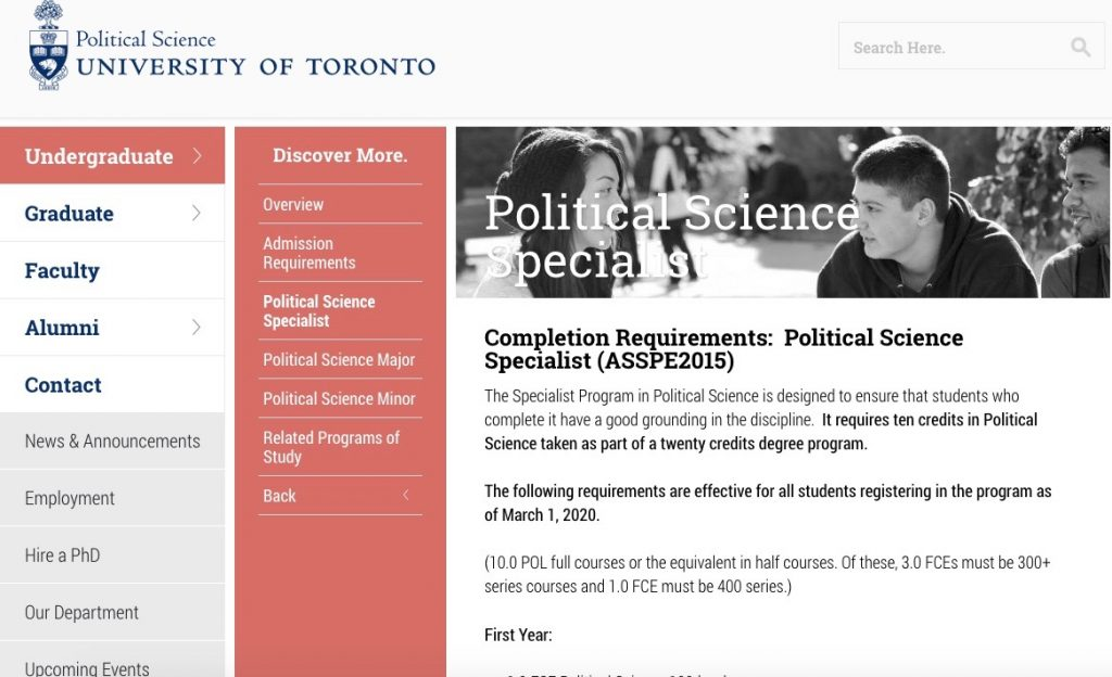 A screenshot of the degree requirements for a Political Science specialist