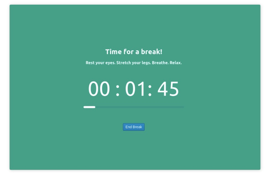 A picture of a break timer app