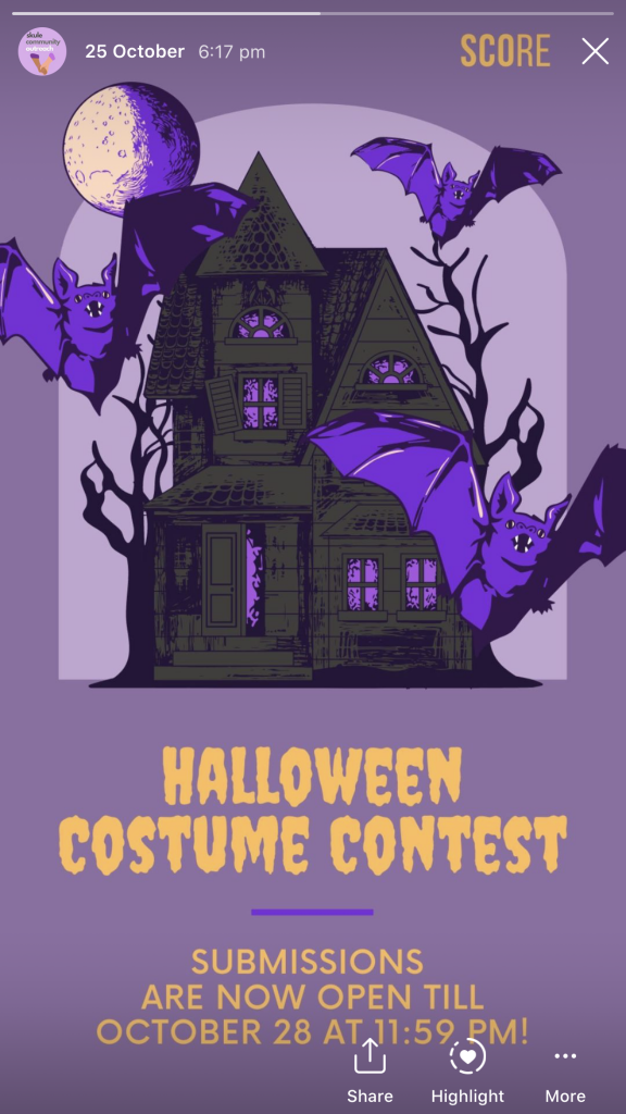 Image of the Halloween costume contest for SCOre's contest on their instagram story