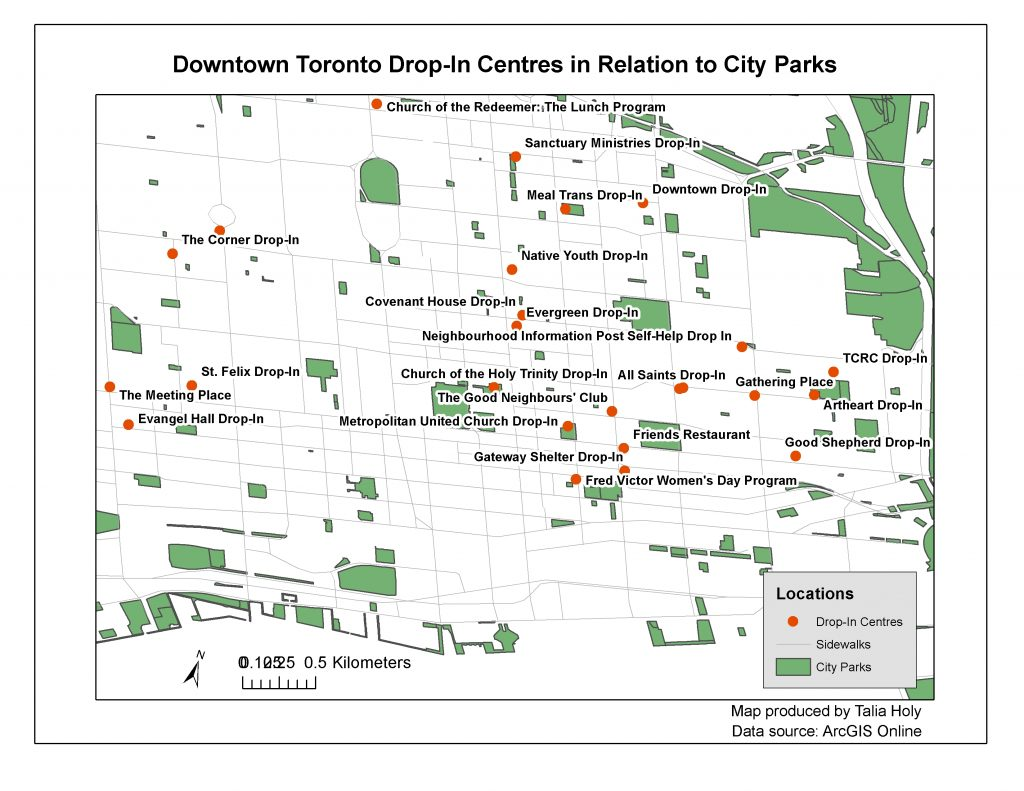 "A picture of a map entitled ""Downtown Toronto Drop-In Centres in Relation to City Parks"""