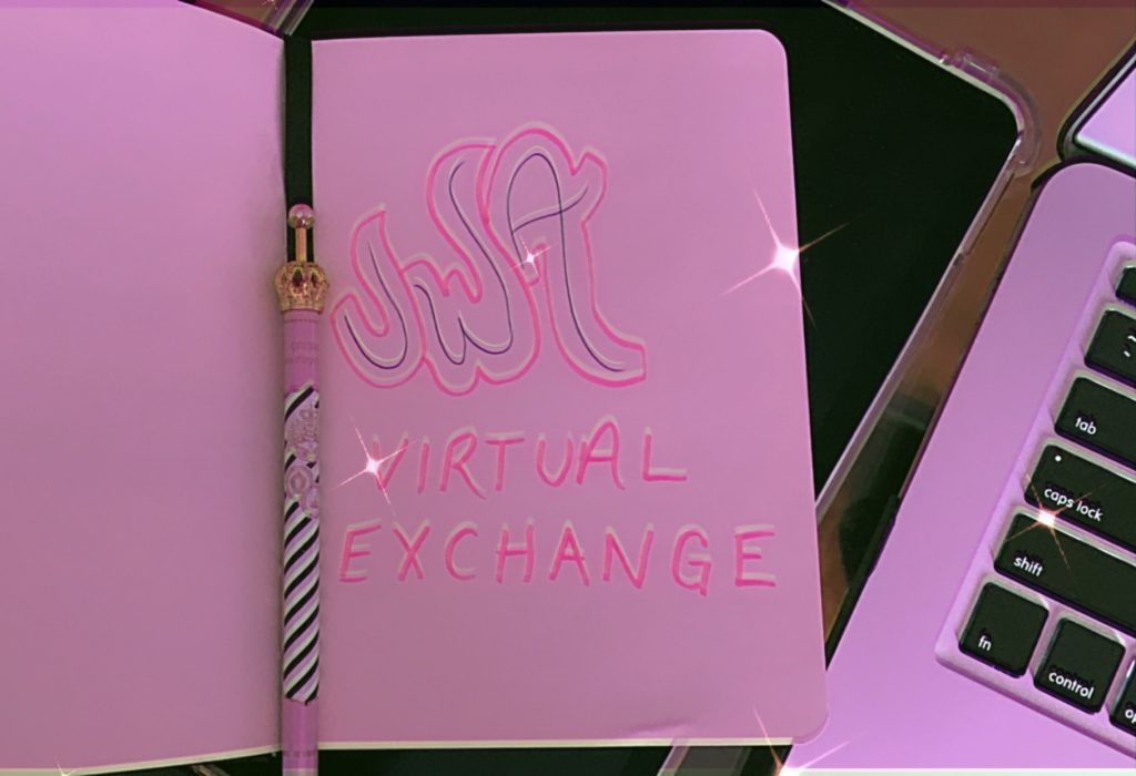 "Journal opened on a page where it says ""UWA virtual exchange"""