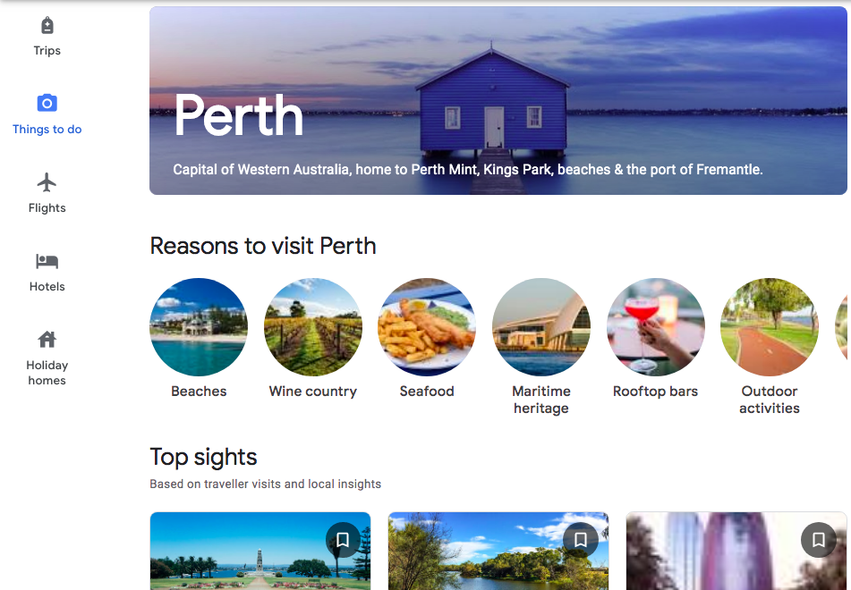 Screenshot from laptop screen of top sights in Perth, Australia
