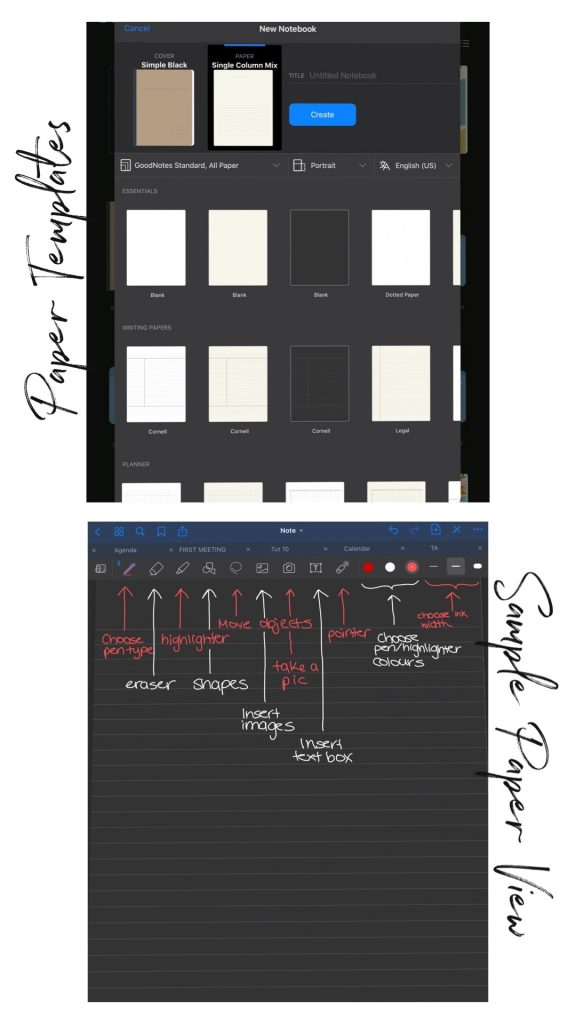 Notebook and paper templates on GoodNotes 5, and a sample paper view