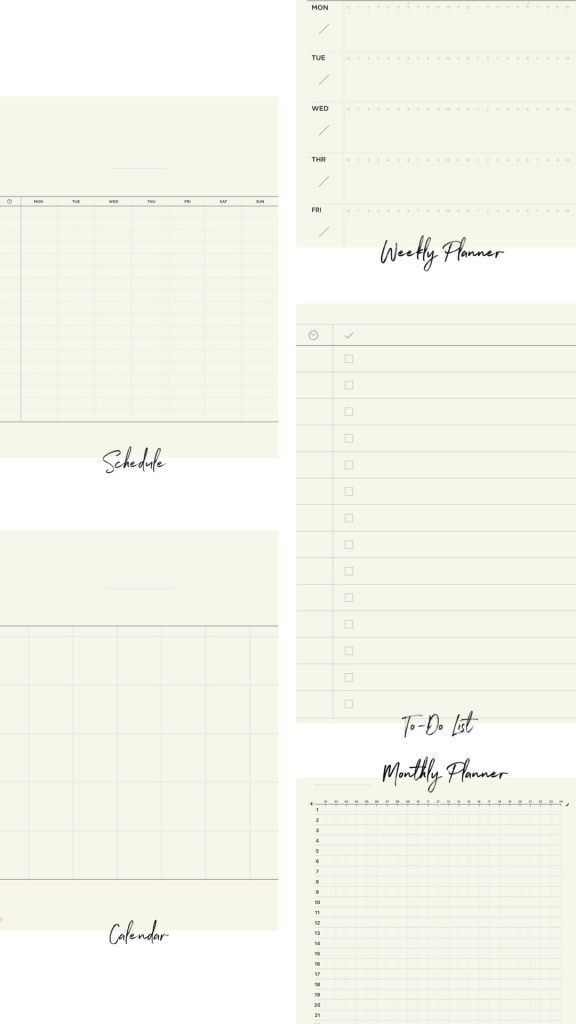 Collage of five different planner templates offered in GoodNotes 5