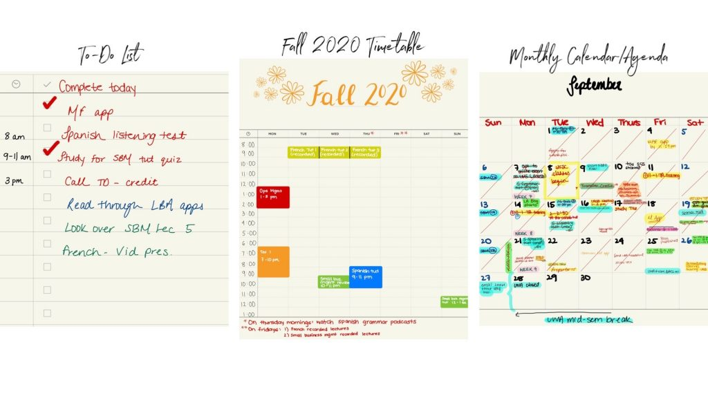 Collage of three planner templates I use most (to-do list, timetable, calendar)