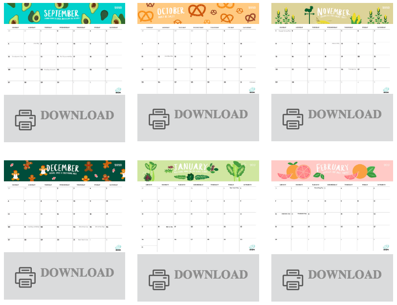"Screenshot of some of the downloadable monthly ""foodie calendars"" from imom.com"