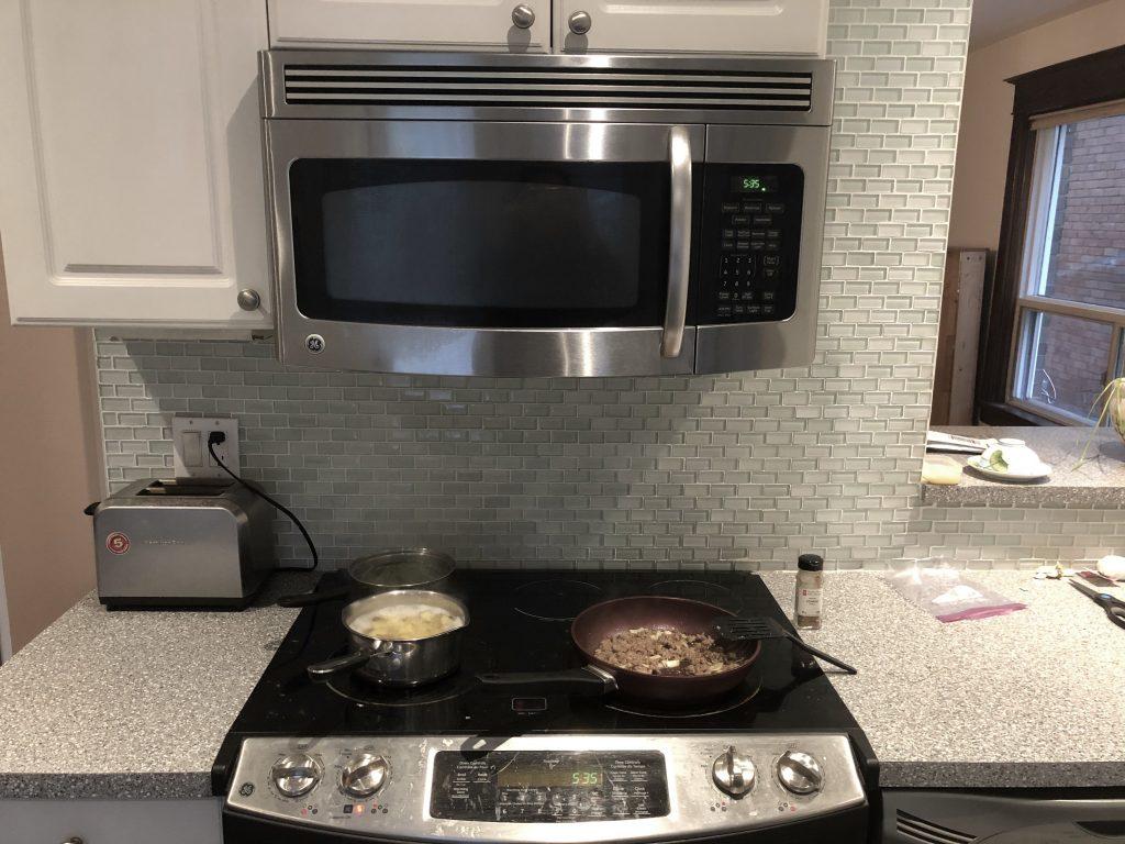 Food on stove.