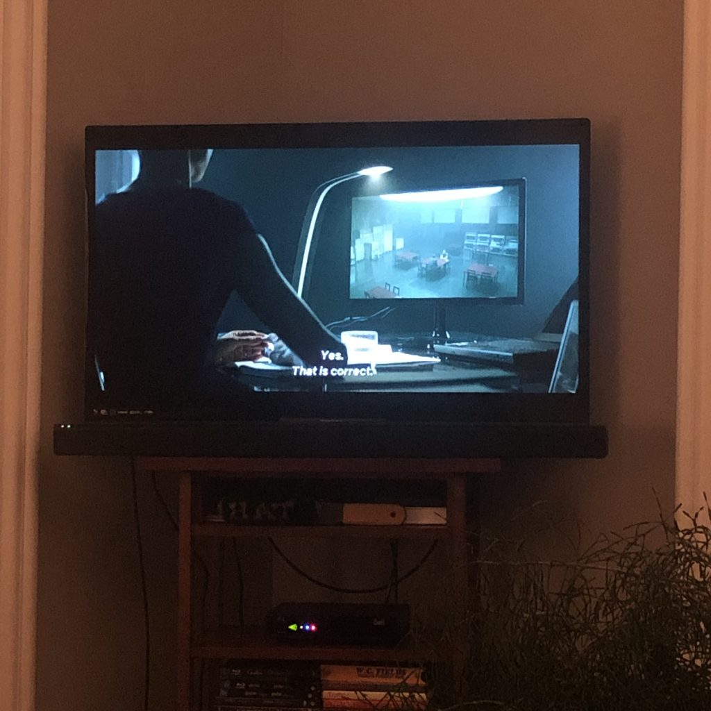 Photo of tv playing Occupied.