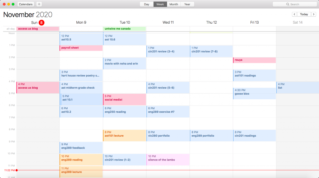 Weekly calendar with schedule