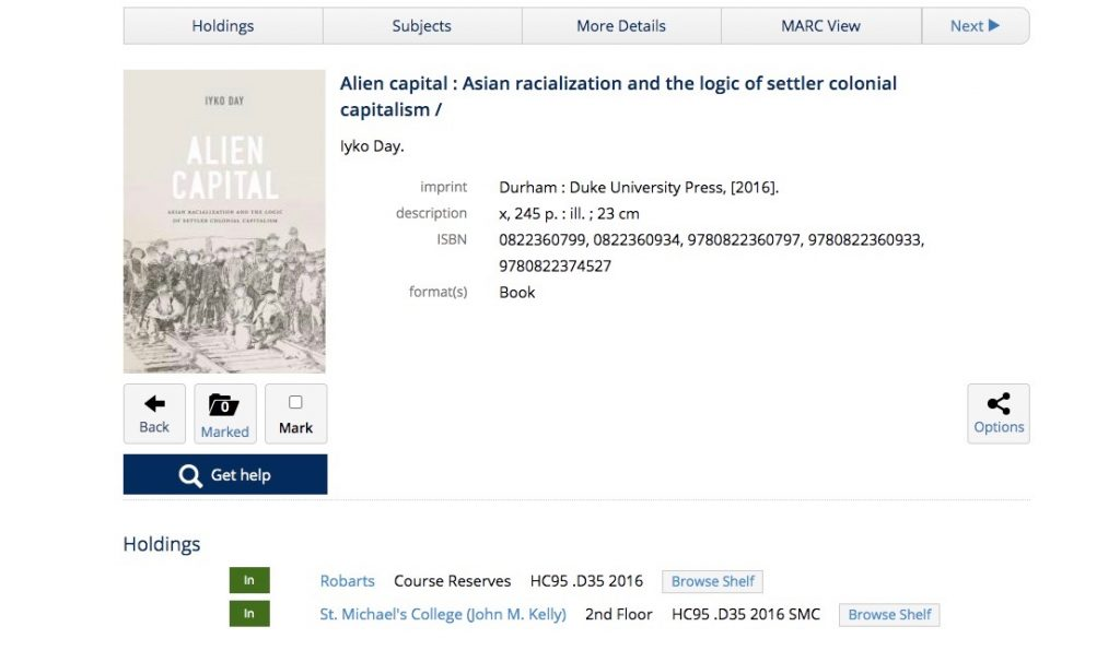 A picture of a book on the U of T library website