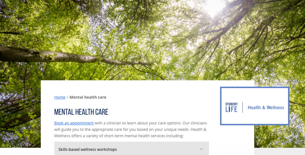 a screenshot of the mental health care page of U of T