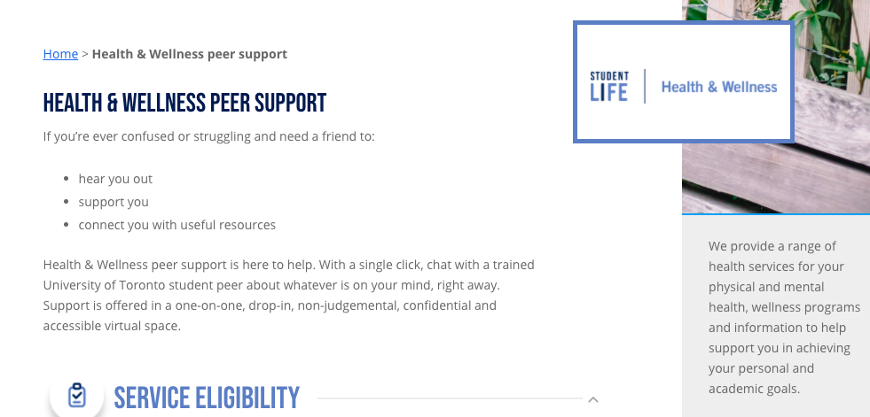Health and wellness peer support website