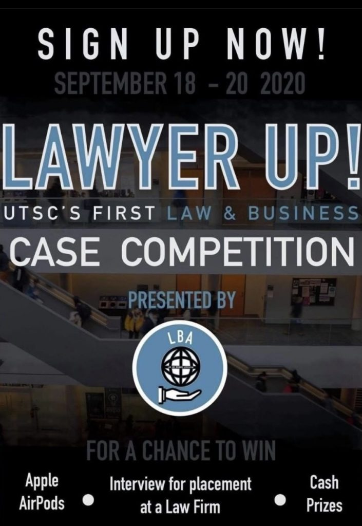 Poster for LBA's flagship case competition called Lawyer Up!