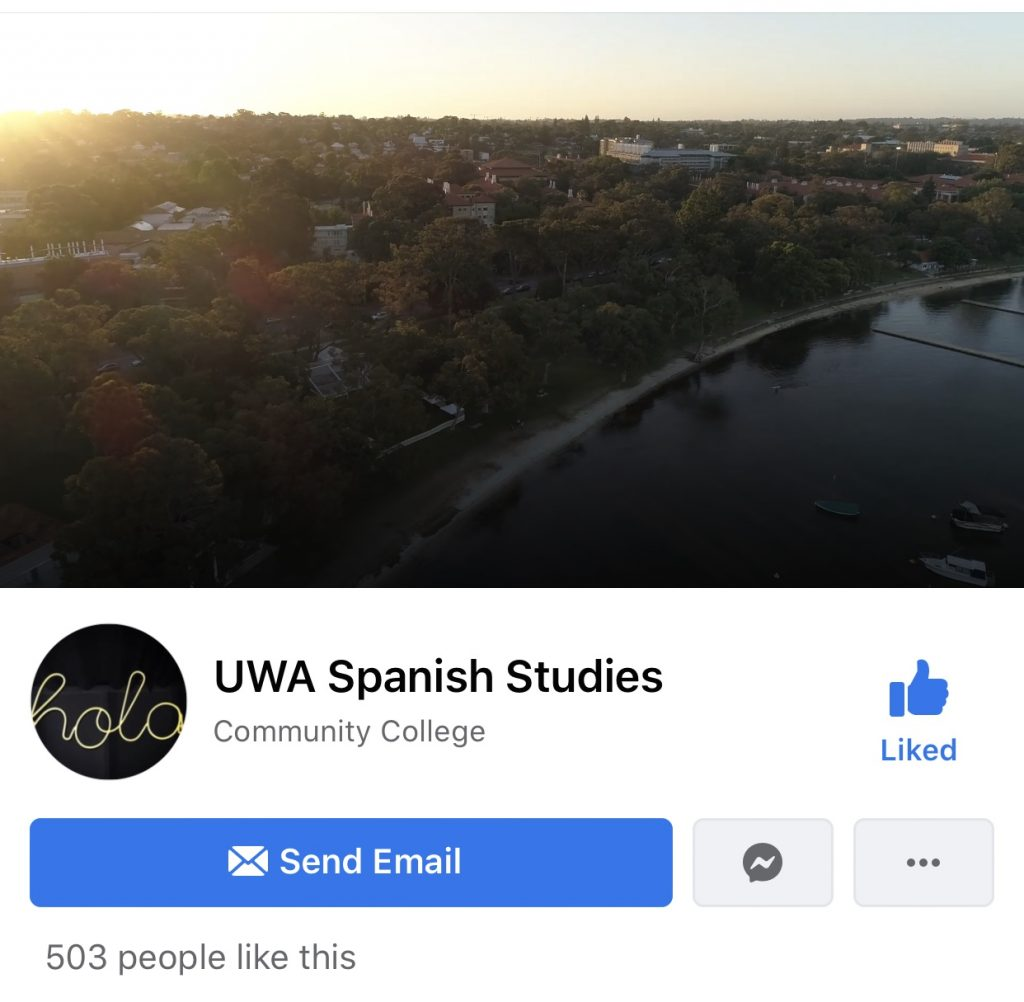 Facebook group called 'UWA Spanish Studies'