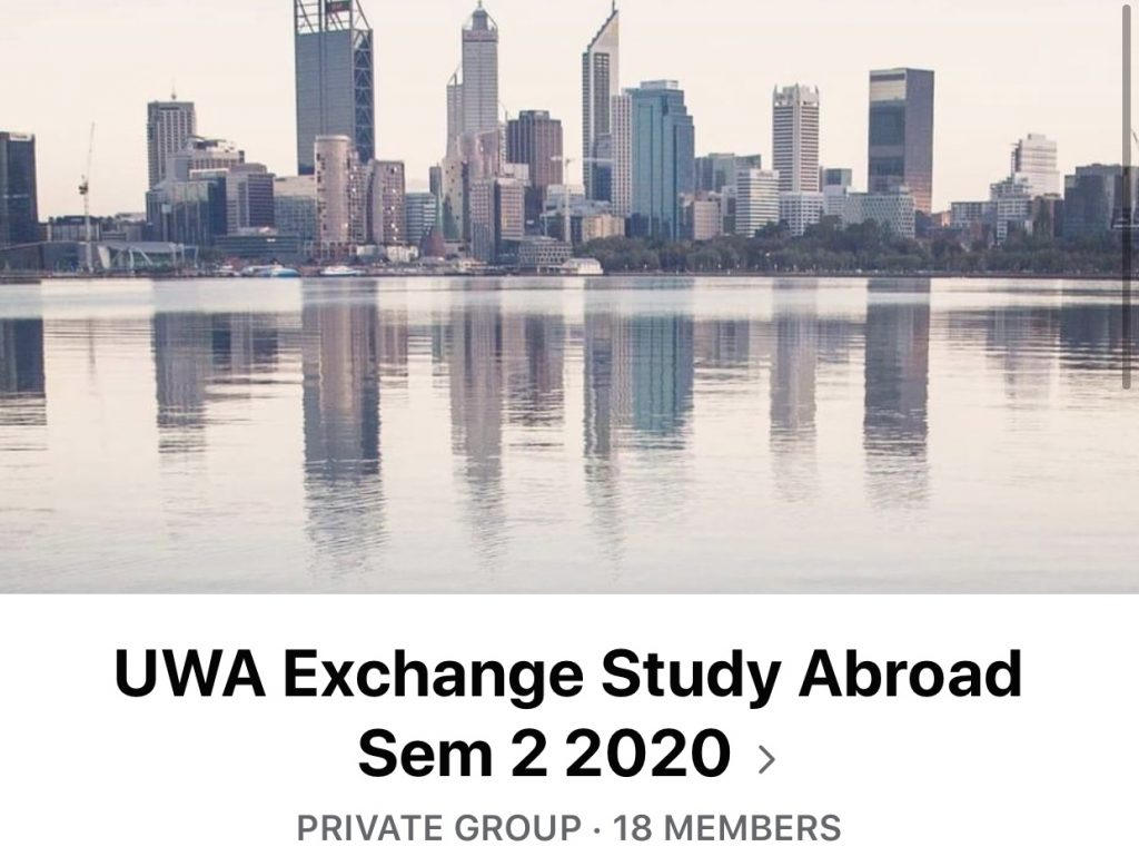 Facebook group called 'UWA Exchange Study Abroad Sem 2 2020'