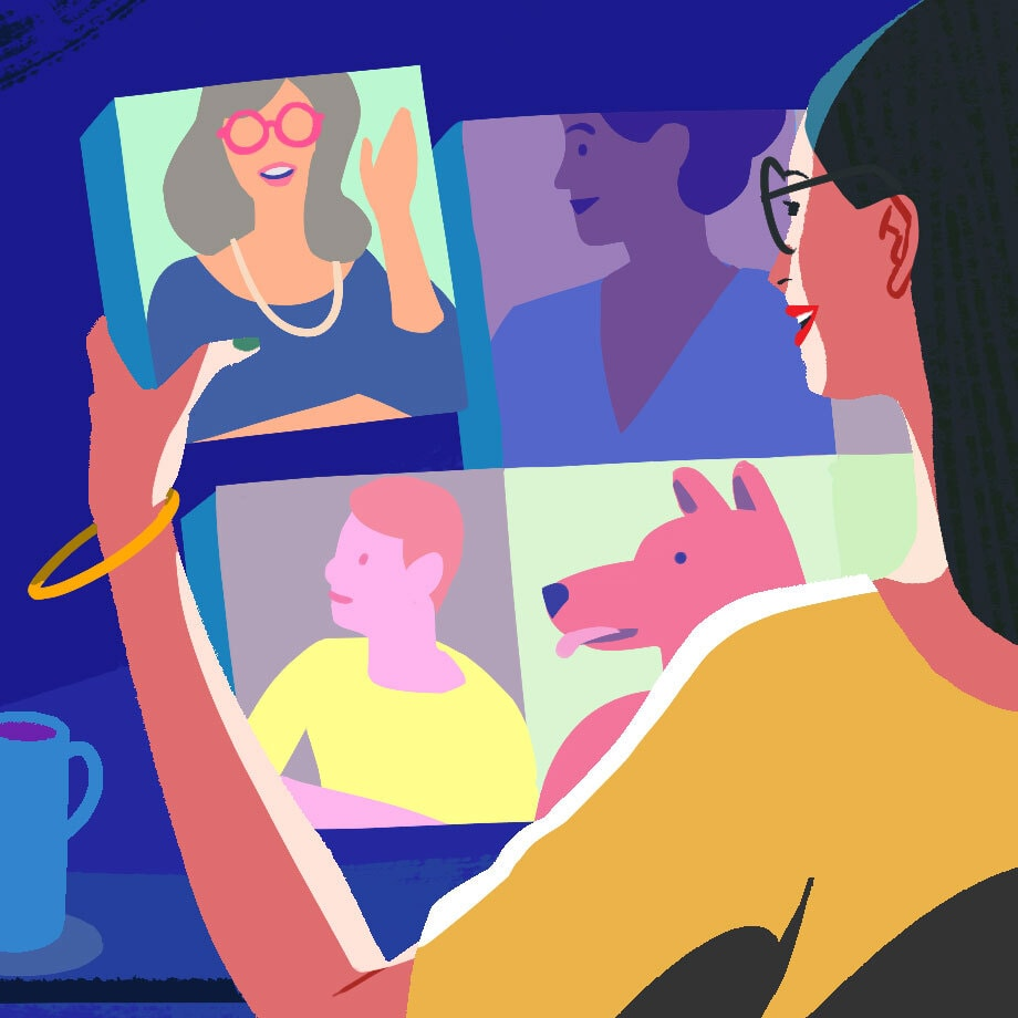 A colourful graphic showing a young women video-chatting with her four teammates.