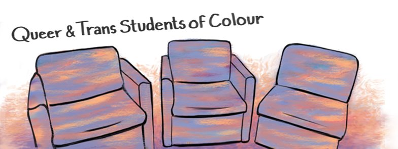 A picture of the banner for the Queer and Trans Students of Colour discussion group, featuring three chairs