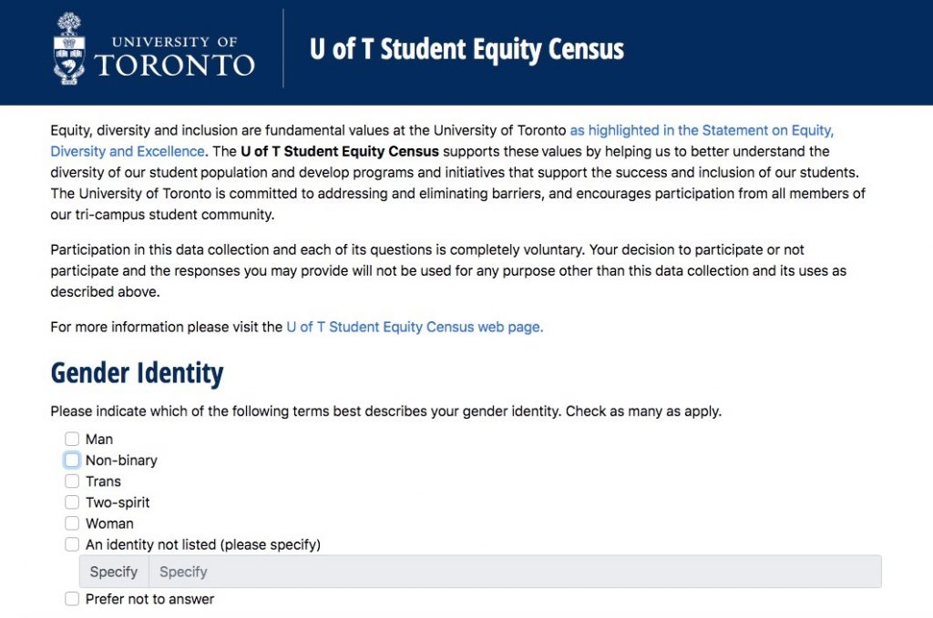 A picture of the U of T student equity census website.