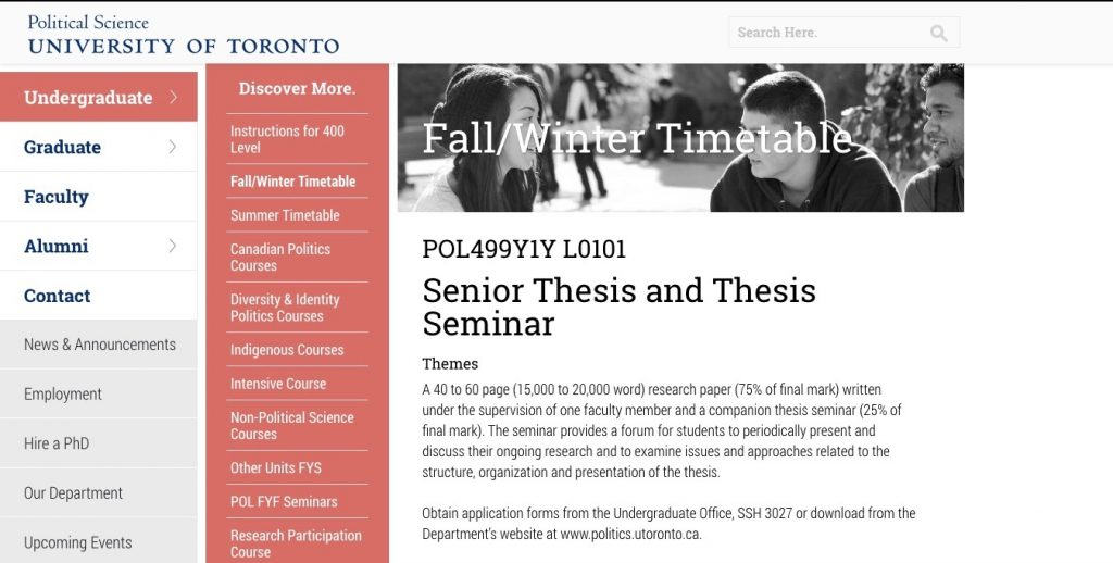 A picture of the Political Science department website advertising the Senior Thesis and Thesis Seminar