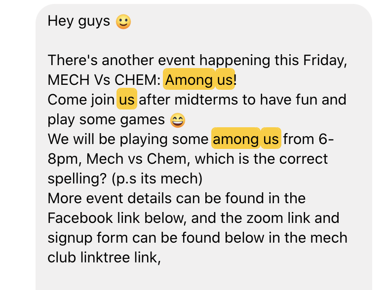 Invitation to play among us for a games night.