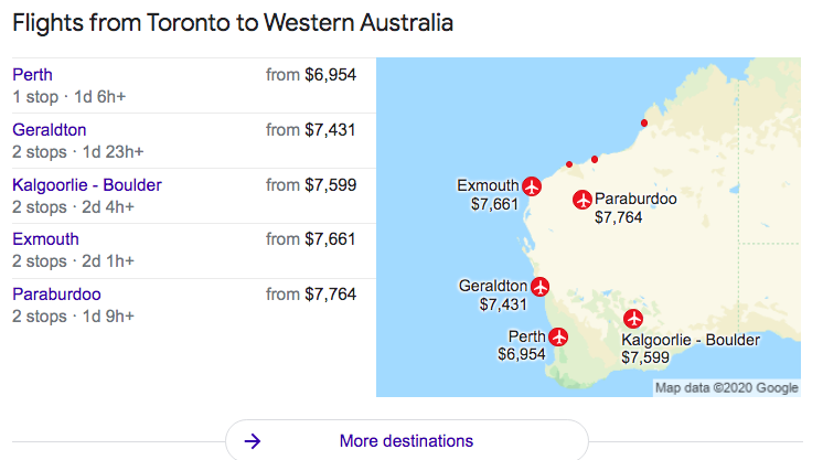 Google search list of flights from Toronto to Western Australia