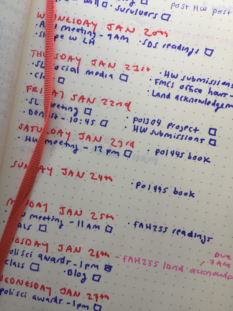 A picture of a list of dates and corresponding tasks in a bullet journal