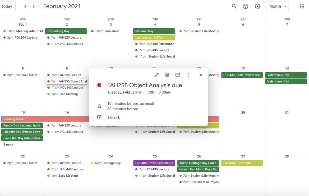 A picture of a google calendar with a series of colour coordinated class deadlines
