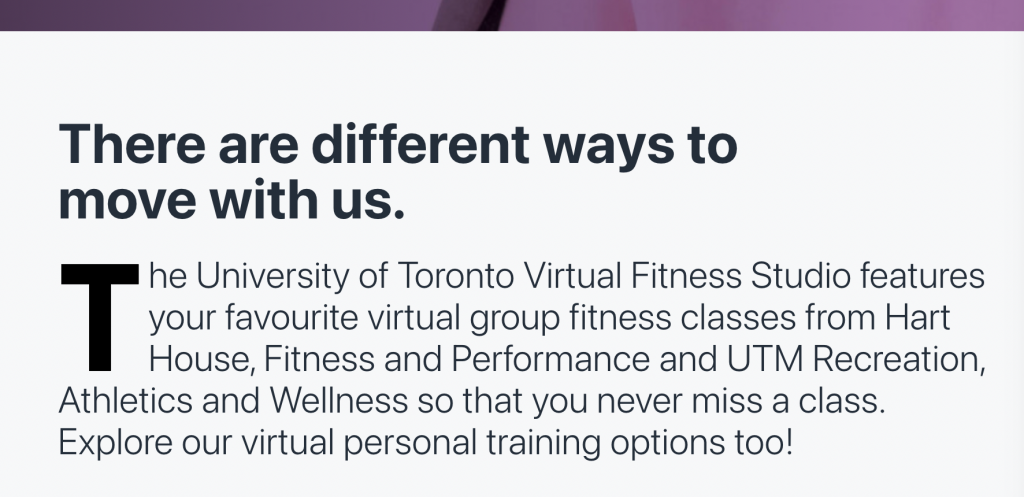 Hart house fitness that describes the virtual fitness classes from Hart House, UTM Recreation and mentions virtual personal training