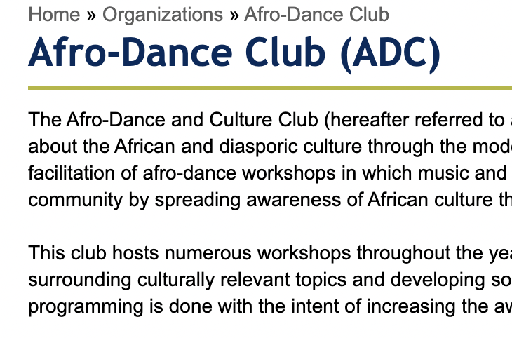 image of the U of T student life description of the Afro-Dance Club. Describes the facilitation of afro-dance workshops