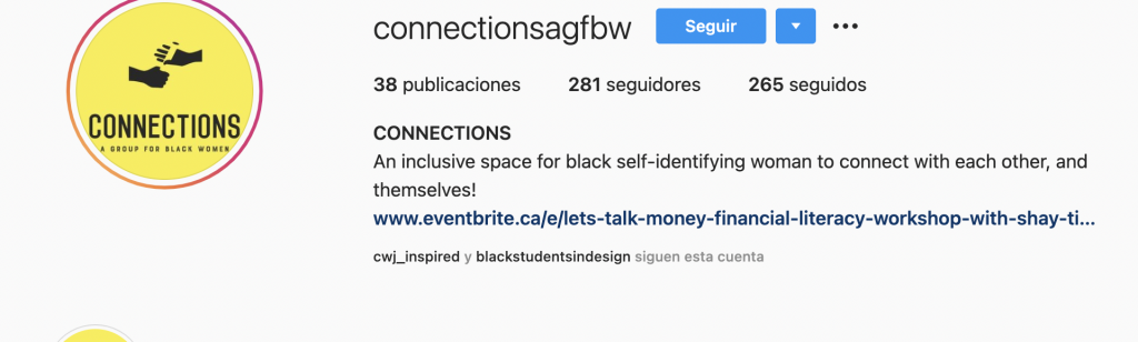 """instagram page of Connections group that describes the club as an """"inclusive space for Black self-identifying women to connect with each other, and themselves"""""""