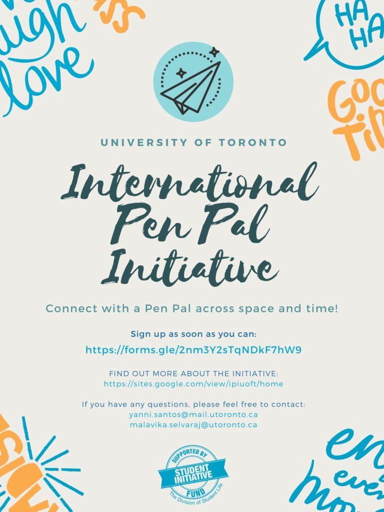 "Poster that reads ""international pen pal intitiative""."