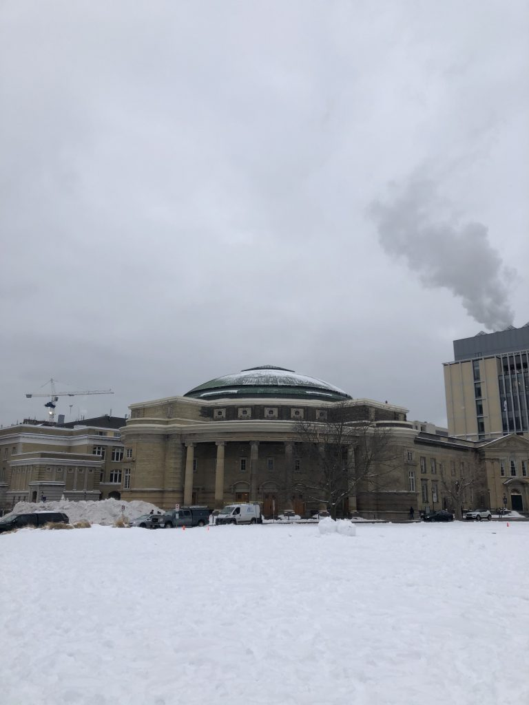 Convocation Hall covered with snow