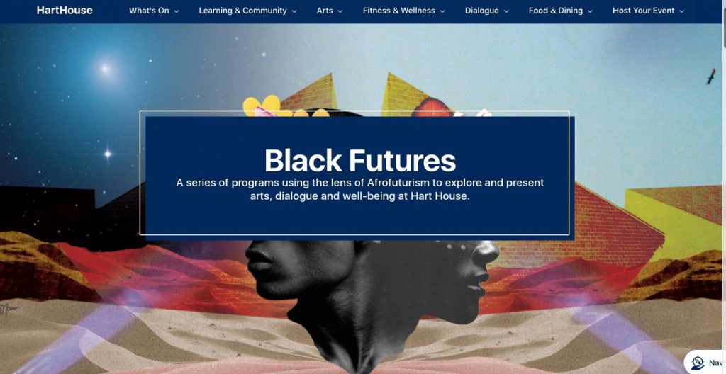 A picture of the Hart House Black Futures web page