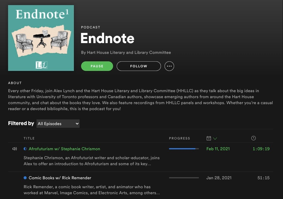 A screenshot of a Spotify account listening to the Afrofuturism podcast