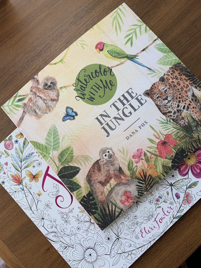 """coloring books titled """"watercolor with me"""" in the jungle by Dana Fox. Sloth, parrot, monkey and cheetah."""