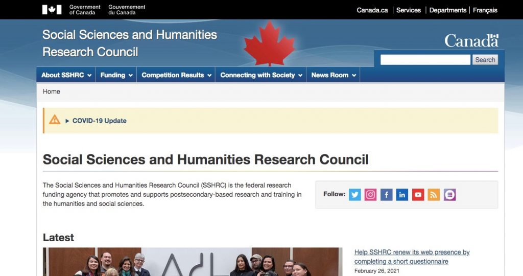 A picture of the home page for the Social Sciences and Humanities Research Council