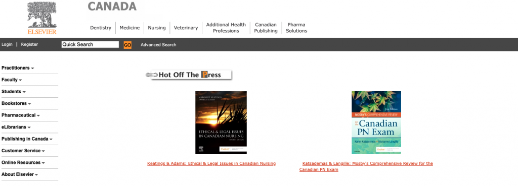 Picture of elsevier main page