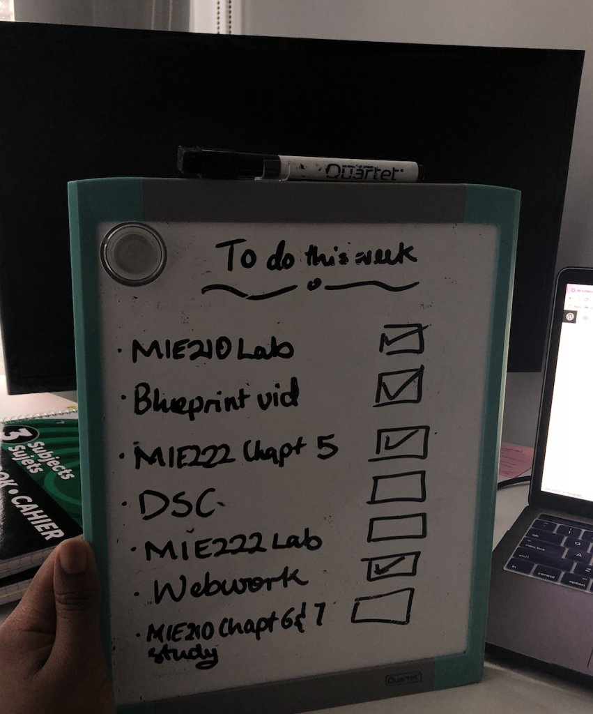 To do this week Mie210 lab Blueprint video Mie222 chapt 5 DSC MIE222 Lab Webwork Mie210 chapt 6 and 7