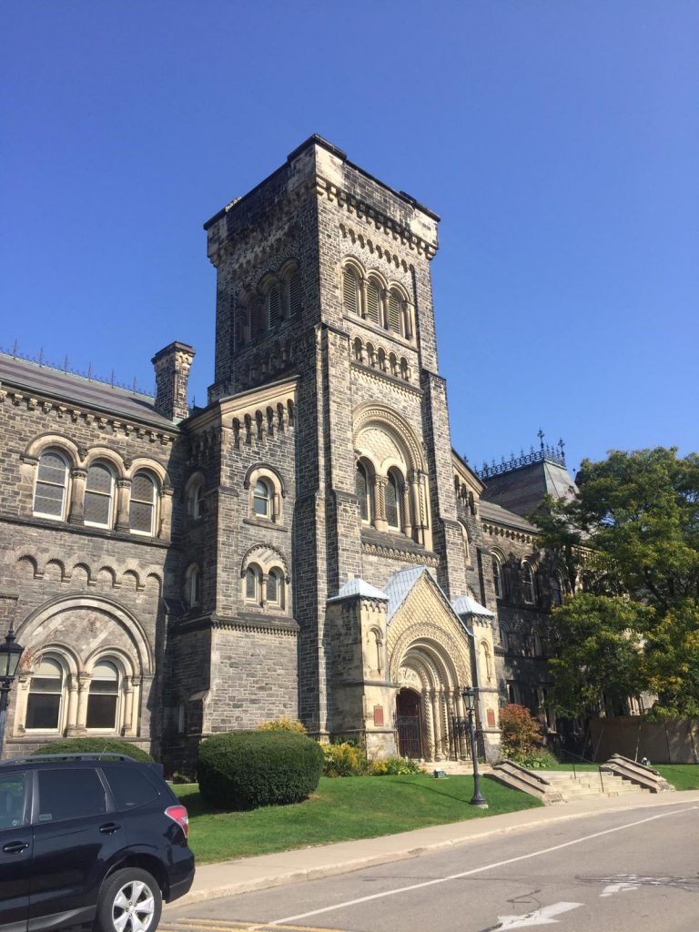 A picture of the front door of University College at U of T