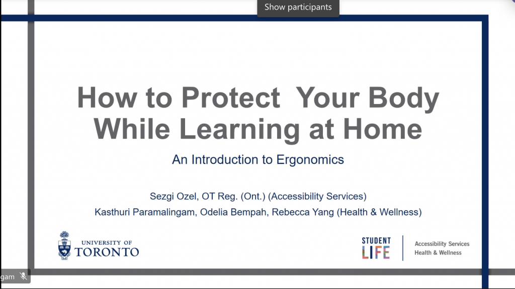 """powerpoint slide """"how to protect your body while learning at home - an introduction to ergononmics"""""""