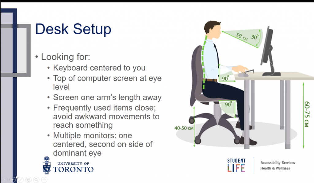 powerpoint slide about desk setup. Man sitting eye level to a computer screen, straight back and knees at a 90 degree angle. slide reads: - looking for: - keyboard centered to you - top of computer screen at eye level - screen one arm's length away