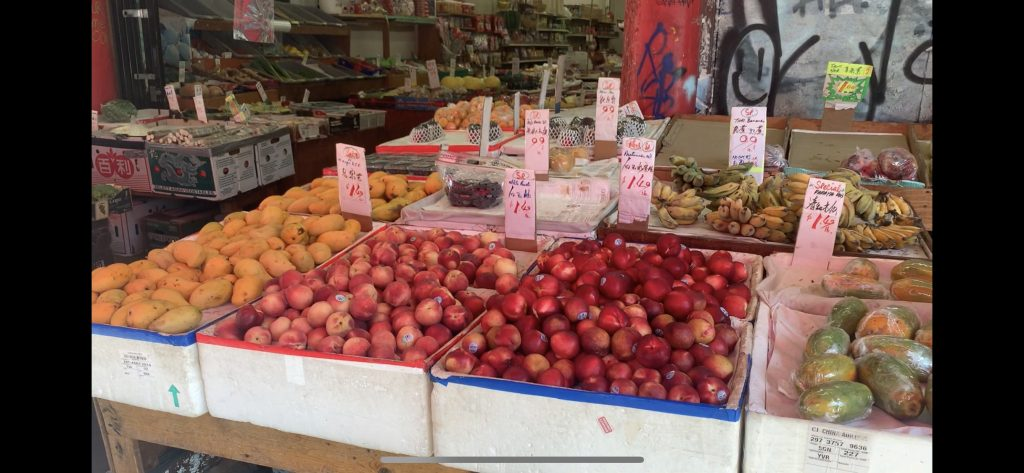 A display of the fruits sold at a market shop in Chinatown, Vacouver.