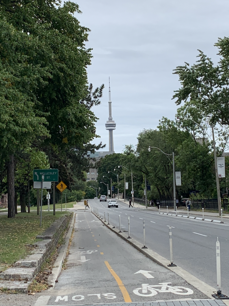 cn tower from U of T roundabout