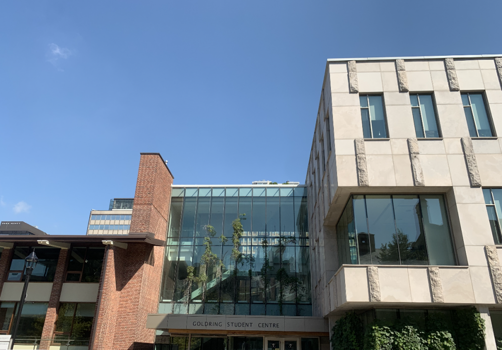 Goldring Student Centre's entrance under clear blue skies