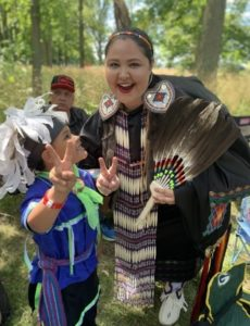 Heather and her son Nico enjoying the celebration at Mississaugas of the Credit First Nation annual powwow!
