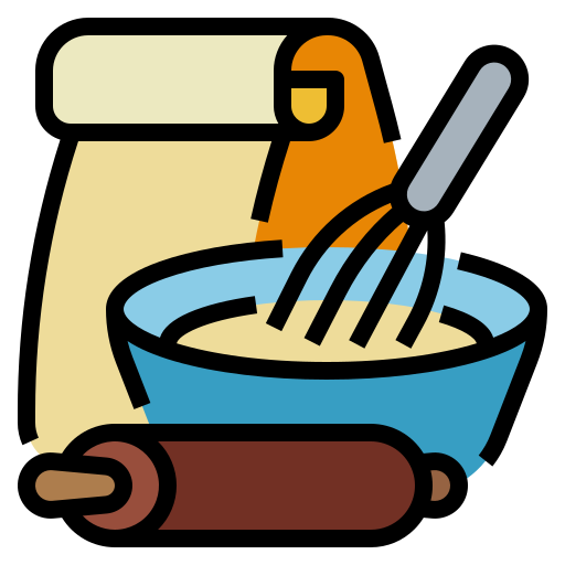 Icon of baking supplies, with a whisk, bowl and roller.