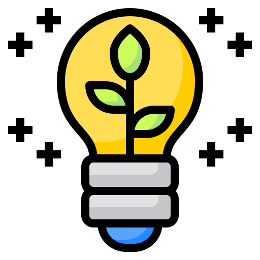 Lightbulb with rays of light and a plant growing inside of it.