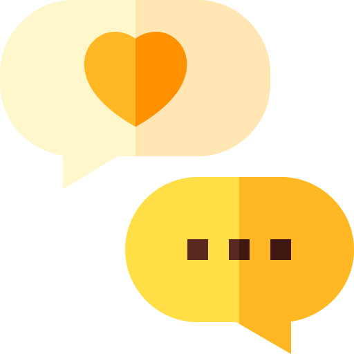 Messaging bubbles with a heart, and another with three dots typing.