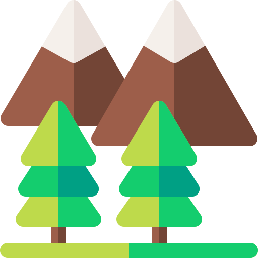 Icon of mountains and trees