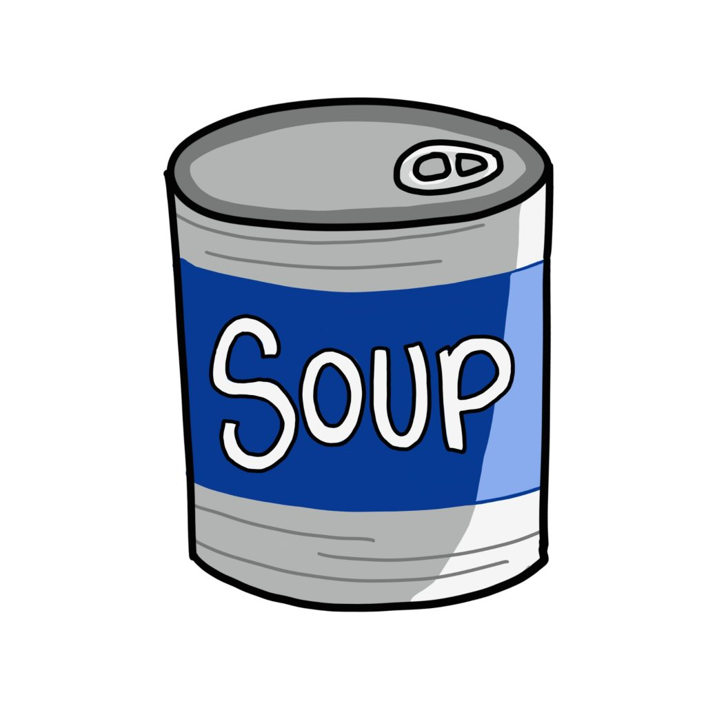 An illustration of a can of soup with a blue label that reads 'soup'